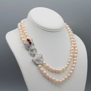 Pink freshwater pearl necklace leopard silver